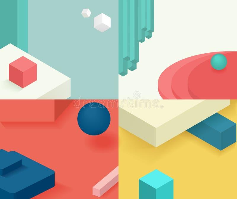 Isometric szablon pokrywy projekt Geometryczny prosty projekt z różnorodnymi prostymi postać elementami dla broszurki, ulotka ilustracja wektor