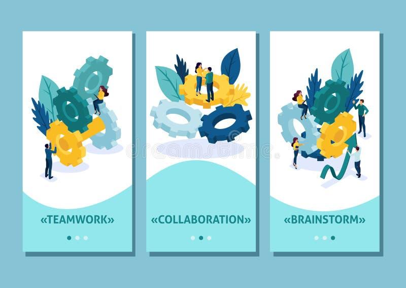 Isometric szablonu app praca zespołowa, brainstorming, Drużynowy współpraca na rozwój biznesu, smartphone apps ?atwy redagowa? i ilustracja wektor