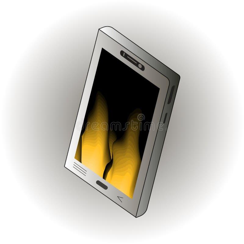 Isometric szary smartphone szablon na abstrakcjonistycznym tle royalty ilustracja