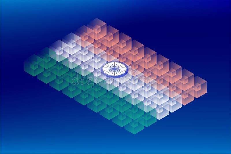 Isometric sześcianu pudełka przezroczystość, India flagi państowowej kształt, Blockchain cryptocurrency pojęcia projekta ilustrac royalty ilustracja