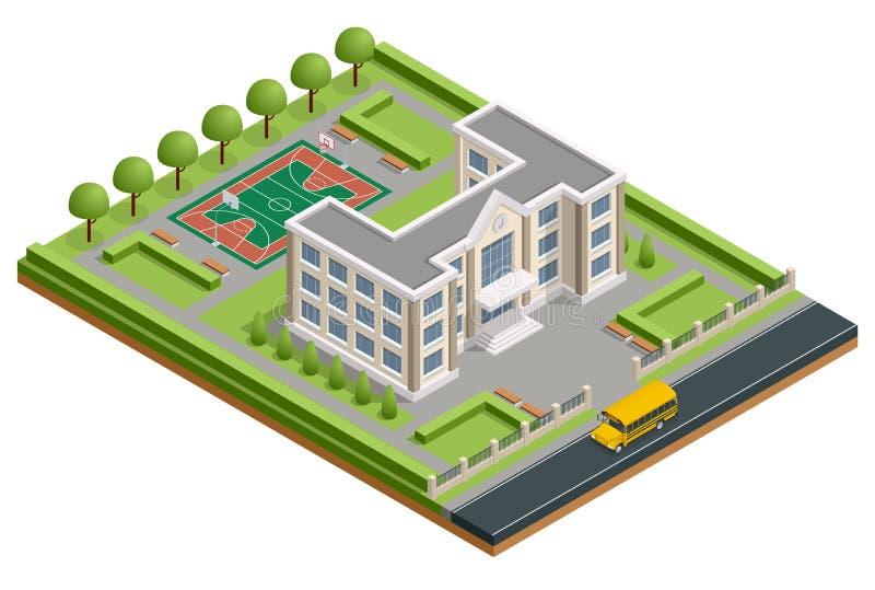 Isometric szkoła państwowa budynek Zewnętrzny budynek szkoły z sporta stadium, autobusem szkolnym i parkiem, wektor royalty ilustracja