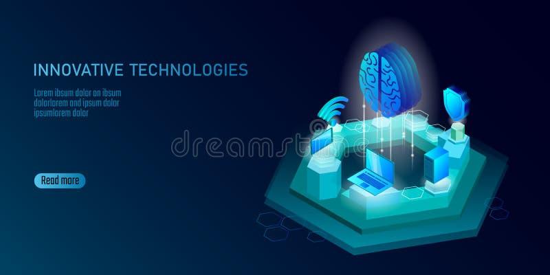 Isometric sztucznej inteligenci biznesu pojęcie Błękitny rozjarzony isometric informacja osobista dane związku komputer osobisty royalty ilustracja