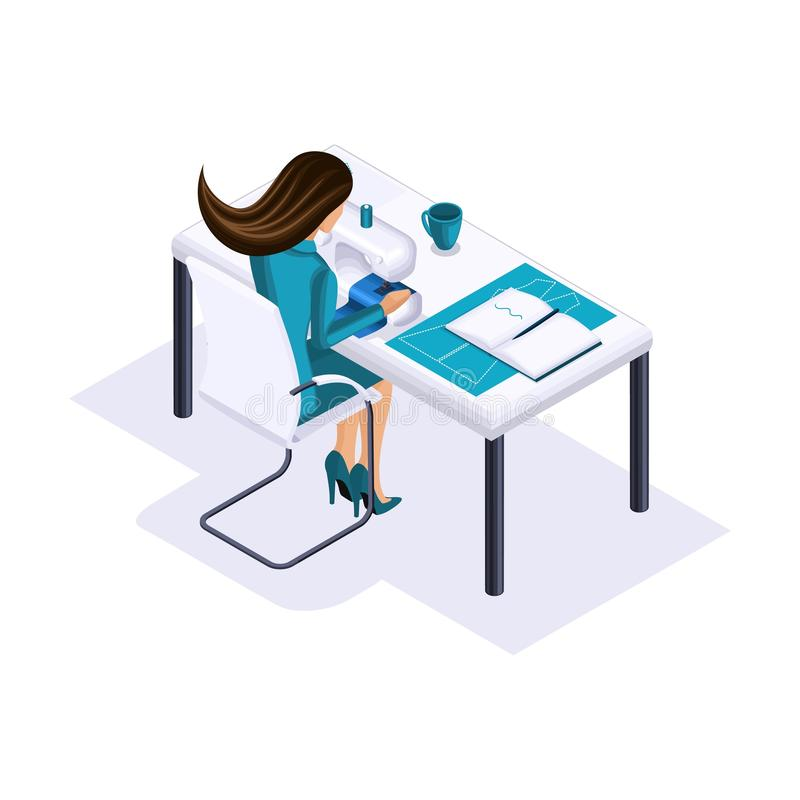 Isometric tailor, a designer sews clothes for display in high fashion, a private atelier, a workshop. The entrepreneur working. For himself, his own business vector illustration