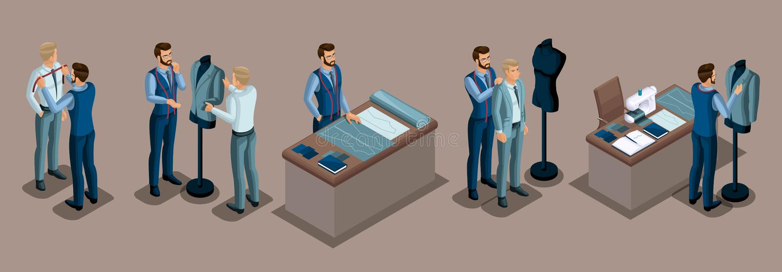 Isometric tailor, work with a client in a sewing workshop, cutting, dimensions, preparing clothes, fitting, sewing machine. The royalty free illustration