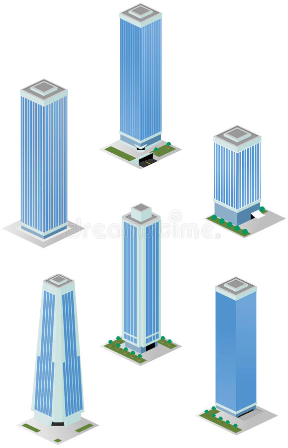 Download Isometric Tall City Office Buildings Stock Vector - Image: 35159480