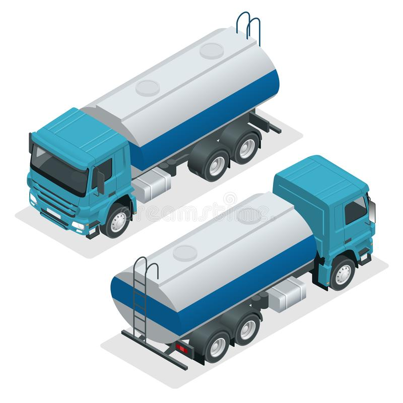 Isometric Tanker truck vector. Petroleum tanker, petrol truck, white cistern, oil trailer isolated on white background. stock illustration