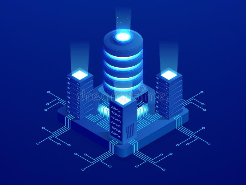 Isometric technologii cyfrowej sieci sztandar DUZI dane Maszynowego uczenie algorytmy Analiza i informacja Duży dane dostęp royalty ilustracja