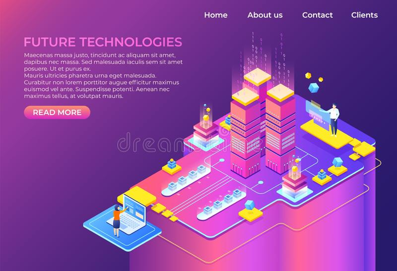 Isometric technology concept. Business 3D background, modern infographic design, futuristic web page. Vector isometric. Landing page system computer royalty free illustration