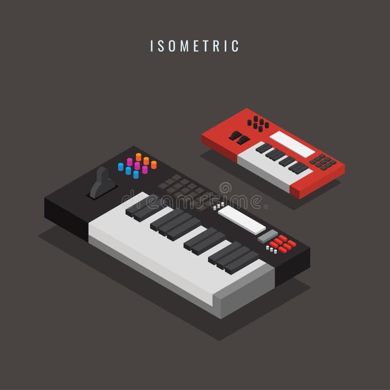 isometric Teclado eletrônico Equipamento musical 3d Vetor IL ilustração do vetor