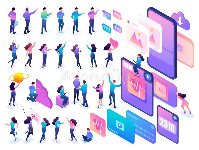 Isometric teenagers in bright clothes with a large set of mobile phones and tablets. Set to create a conceptual design.  stock illustration