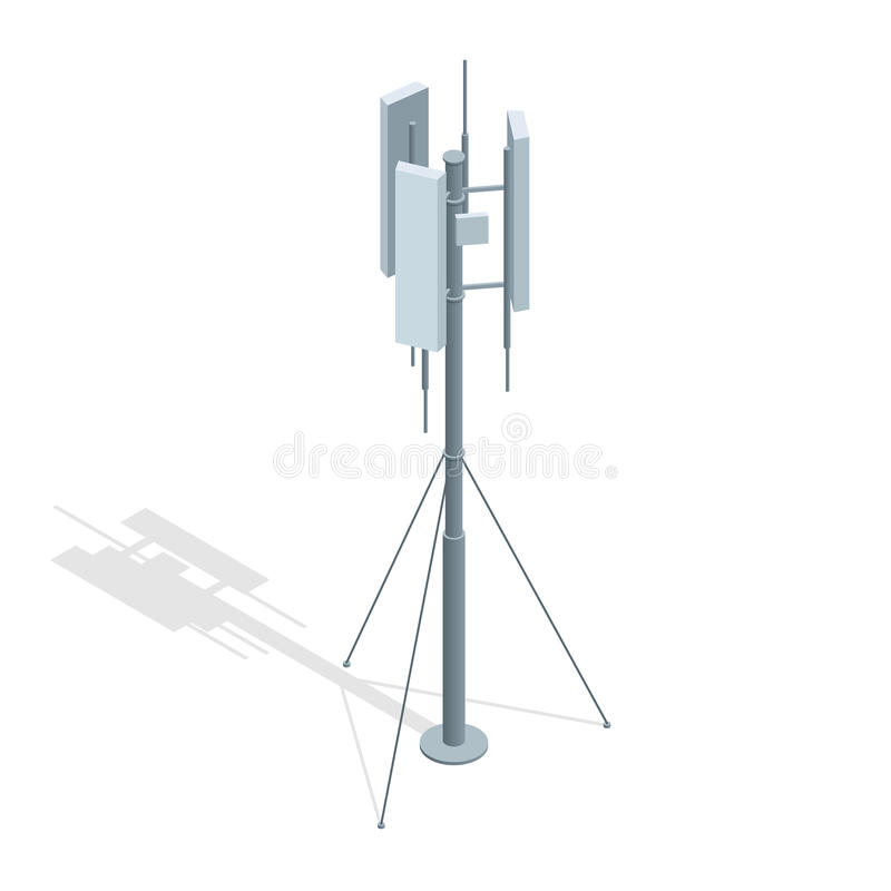 Free Isometric Telecommunications Towers. A Mobile Phone Communication Repeater Antenna Vector Flat Illustration. Stock Images - 87553404