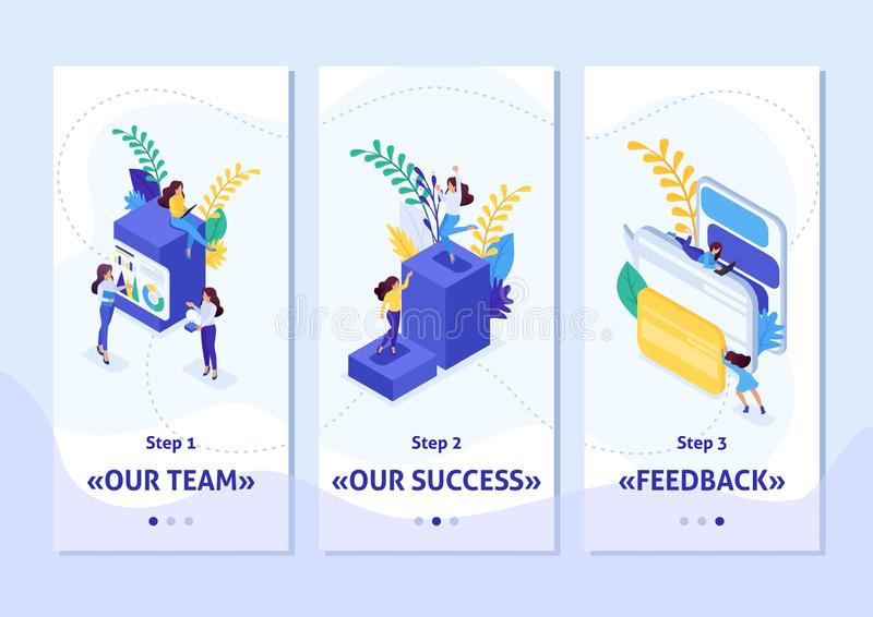 Isometric Template app concept career ladder for women, success in big business. Business lady succeeds, smartphone apps. Easy to. Edit and customize royalty free illustration