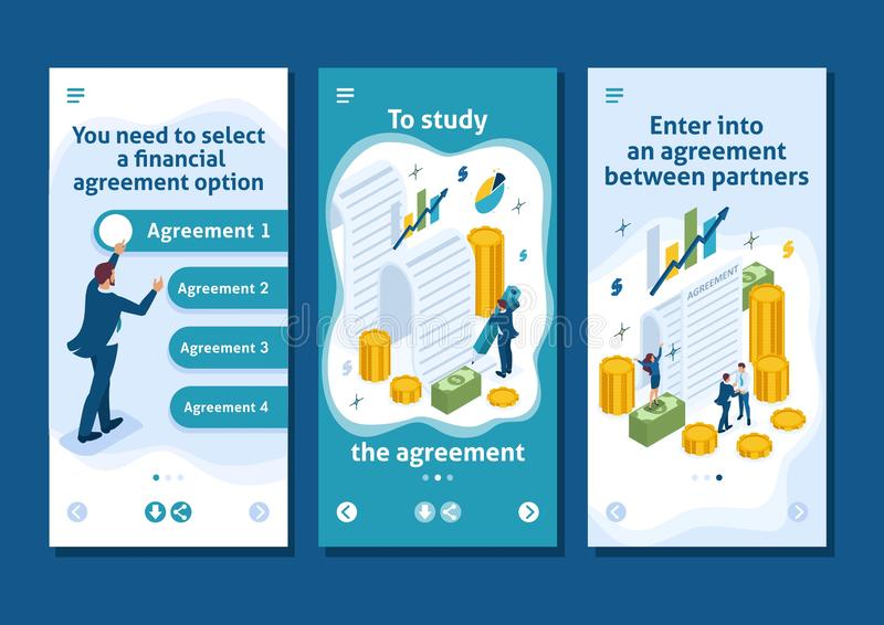 Isometric Partners Conclude an Agreement. Isometric Template app concept of creating a financial agreement, partners conclude an agreement, smartphone apps stock illustration