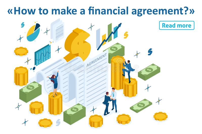 Isometric Partners Conclude an Agreement. Isometric Template banner article concept of creating a financial agreement, partners conclude an agreement vector illustration