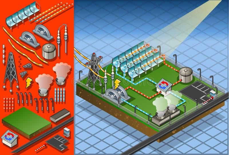 Isometric termo solar plant royalty free illustration