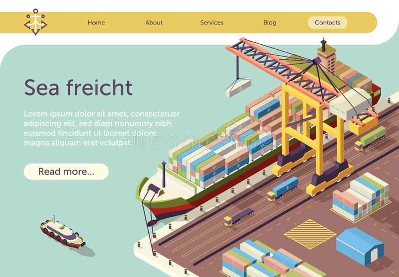 Isometric Text Banner Representing Sea Freight royalty free illustration