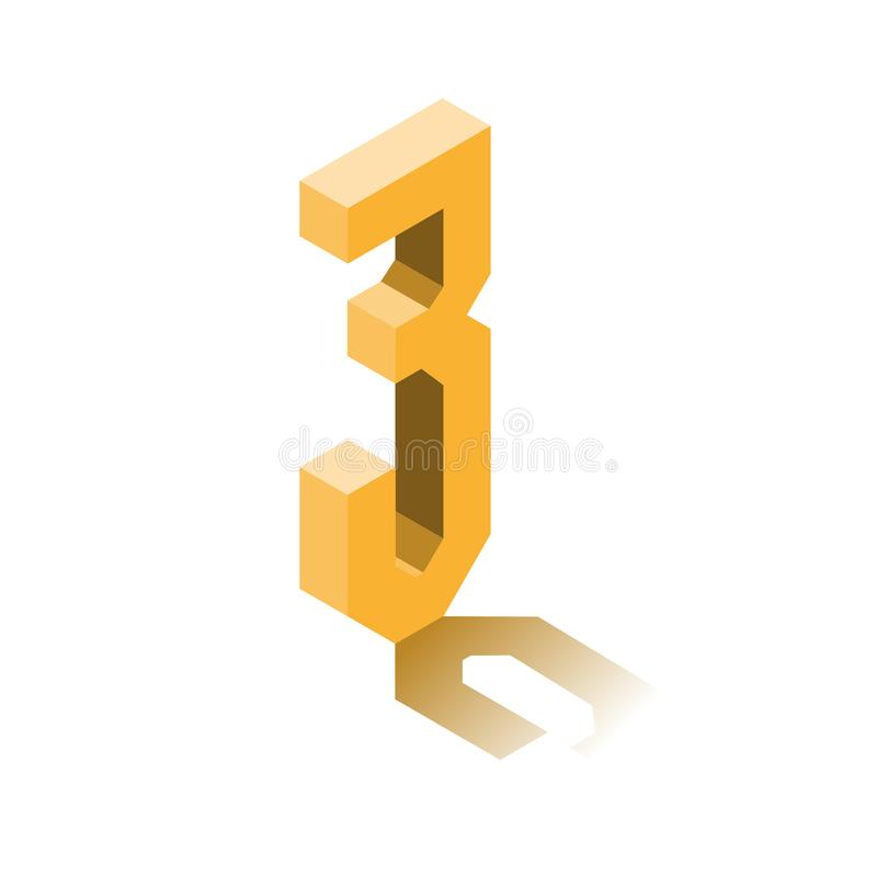 Isometric three orange icon, 3d character with shadow royalty free illustration