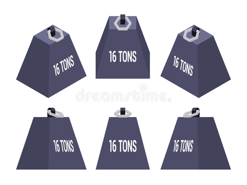 Isometric 16 tons weight. Set of the isometric weights. The objects are isolated against the white background and shown from different sides vector illustration