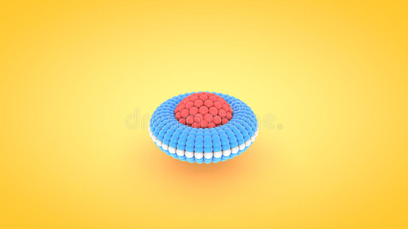 Isometric torus atom array illustration, 3D rendering vector illustration