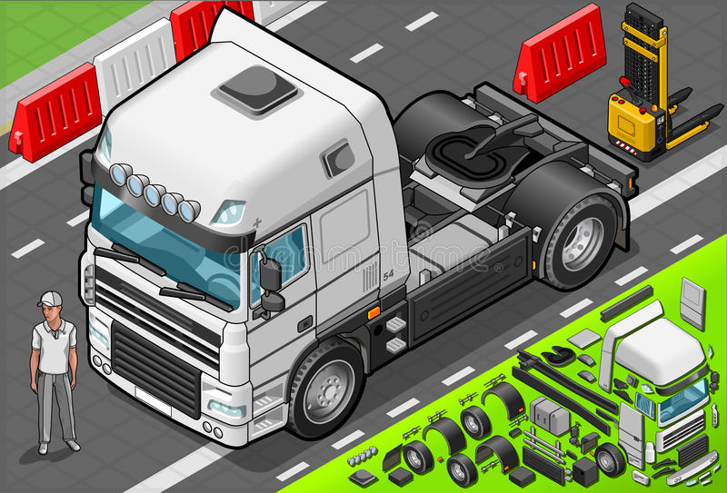 Isometric Tow Truck Only Cab in Front View. Detailed illustration of a Isometric Tow Truck Only Cab in Front View This illustration is saved in EPS10 with color stock illustration