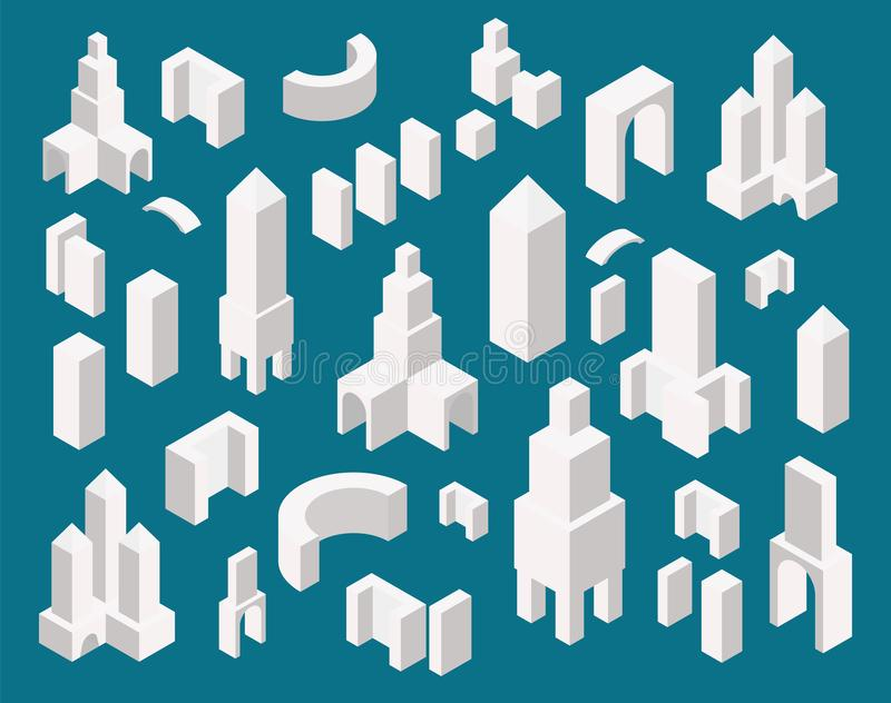 Isometric town constructor set for creating your city map. Simple minimalistic office buildings design royalty free illustration