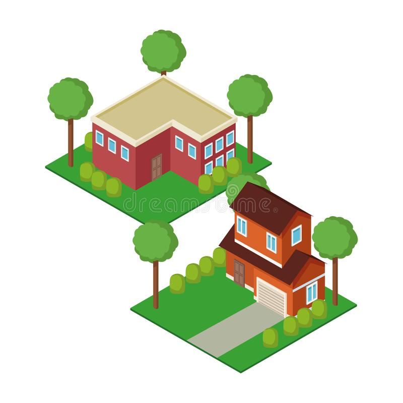 Isometric town 3d. On background illustration graphic vector illustration