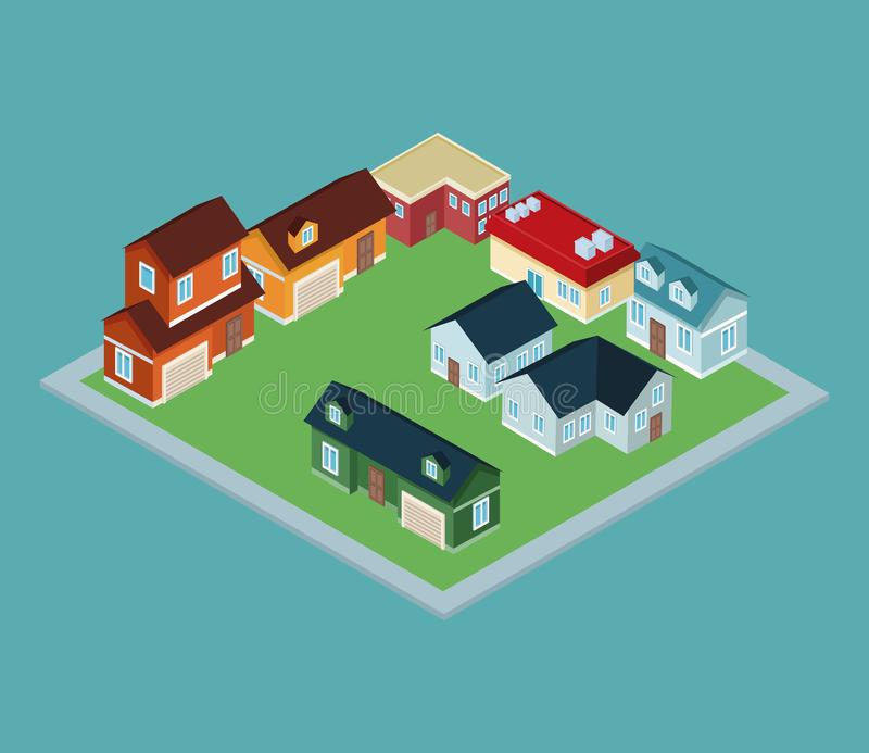 Isometric town 3d. On blue background illustration graphic royalty free illustration