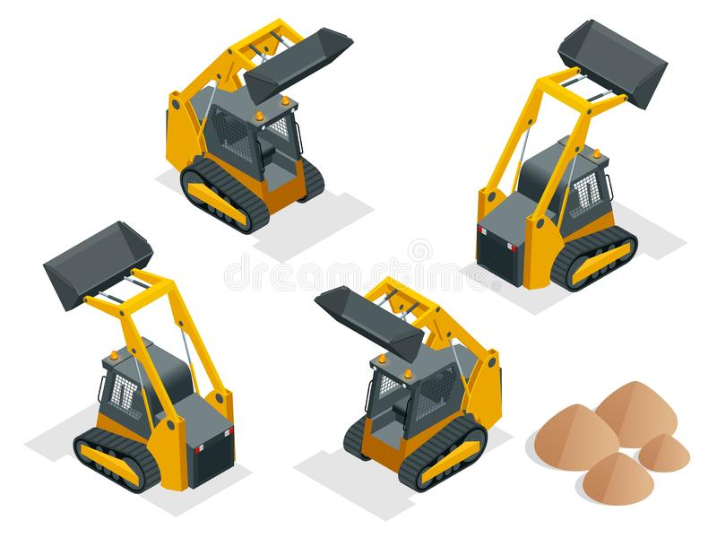 Isometric tracked Compact Excavators. Orange Steer Loader isolated on a white background.  royalty free illustration