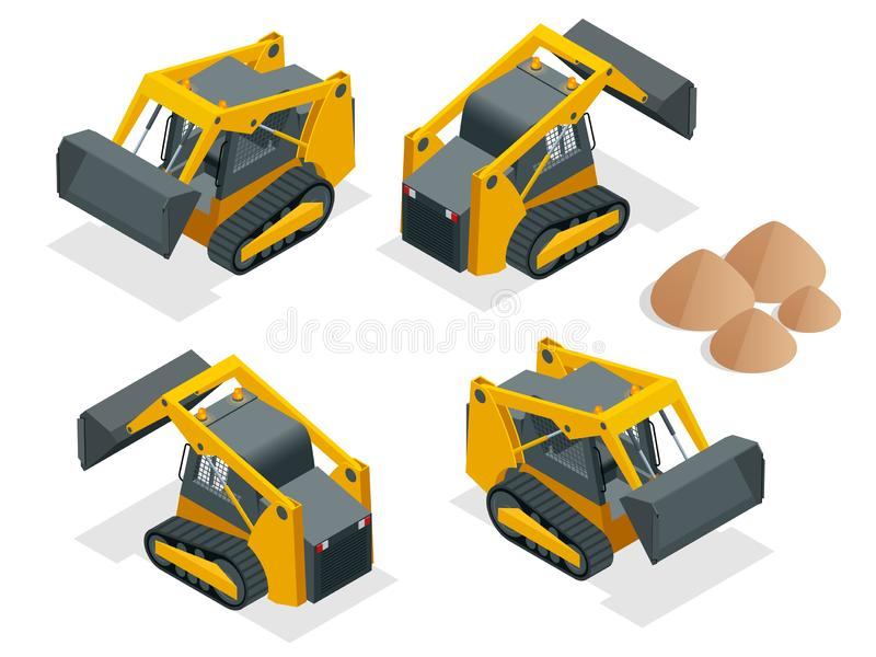 Isometric tracked Compact Excavators. Orange Steer Loader isolated on a white background.  stock illustration