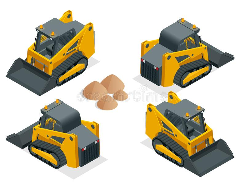 Isometric tracked Compact Excavators. Orange Steer Loader isolated on a white background.  vector illustration