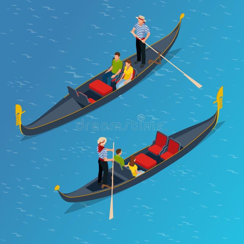 Isometric Tradycyjna gondola Gondola z gondolierem i turystami w Wenecja, Włochy podróż Włoski mężczyzna zawód ilustracji