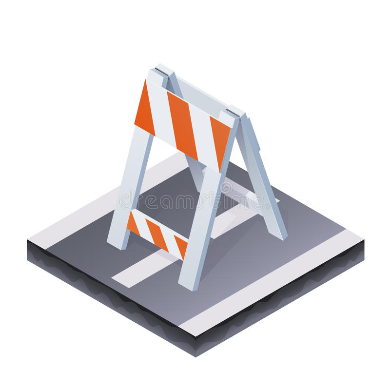 Isometric traffic barrier stock illustration