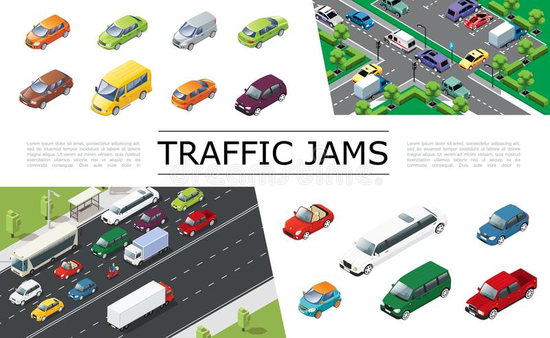 Isometric Traffic Jam Concept. With urban transport moving on road automobiles of different types and models vector illustration vector illustration