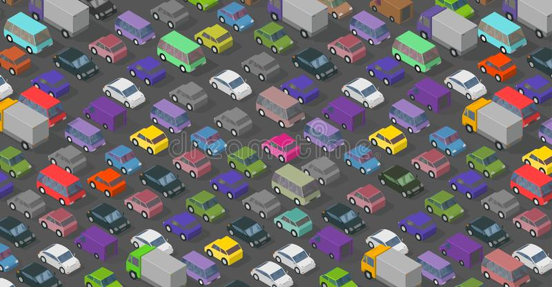 Isometric traffic jam a lot of multi-colored cars transport highway background pattern. Top view of the road and cars stock illustration