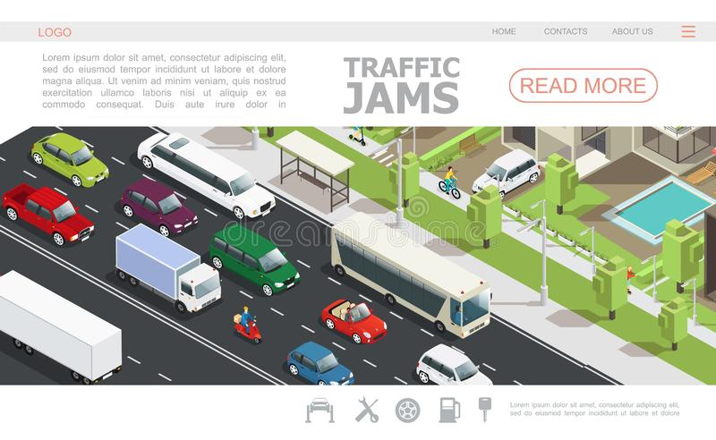 Isometric Traffic Jam Web Page Template. With different cars moving on road in city vector illustration vector illustration