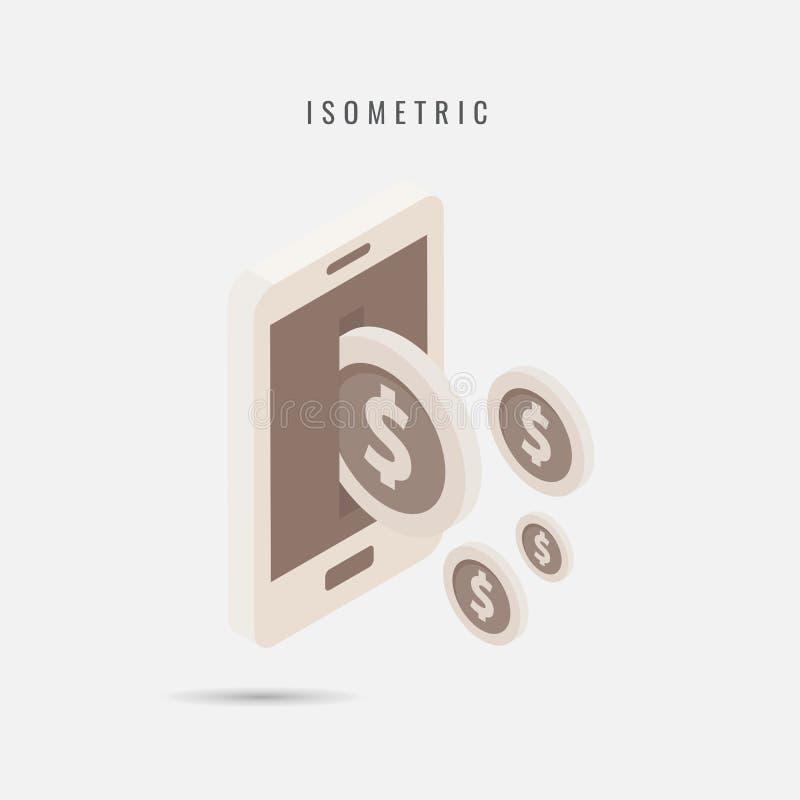 isometric transferência de dinheiro móvel do ícone, símbolo do vetor no estilo é ilustração do vetor