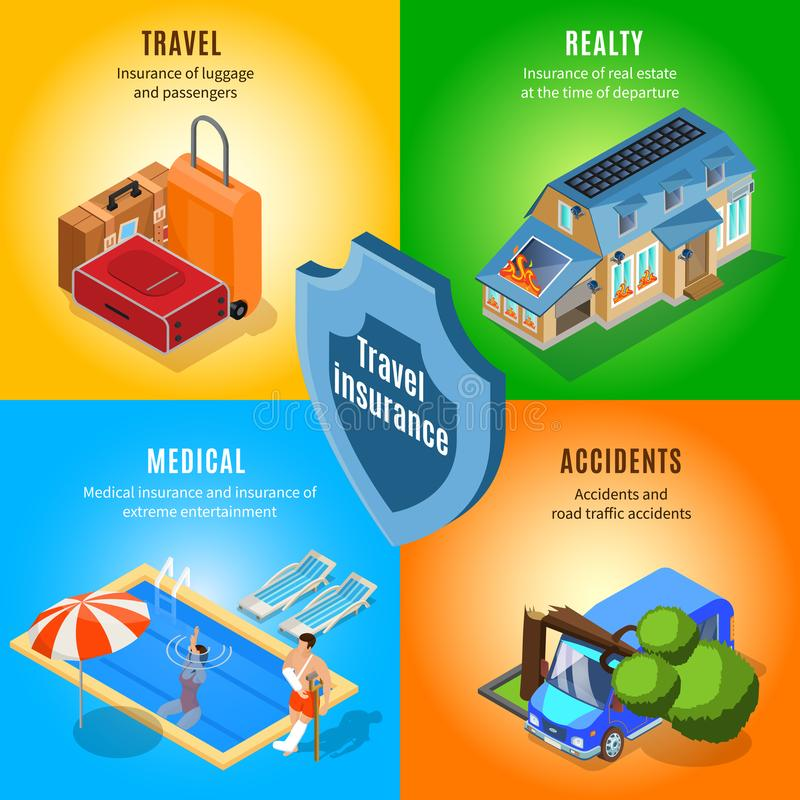 Isometric Travel Insurance Service Concept royalty free illustration