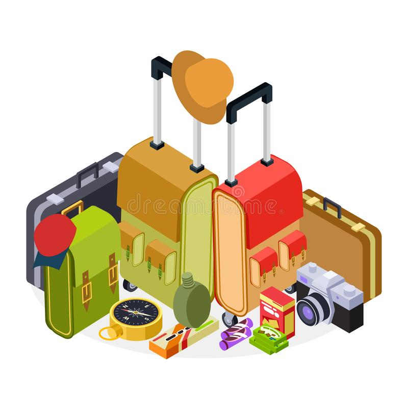 Isometric travel vector illustration. Luggage, suitcases, backpack and hike accessorises stock illustration