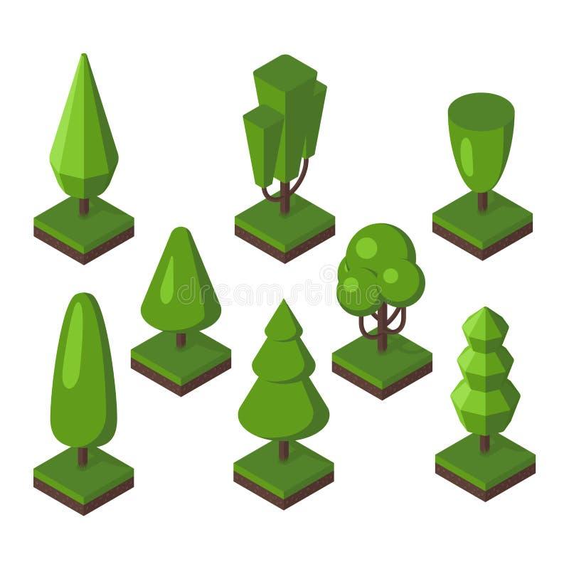 Isometric tree vector illustration. royalty free illustration