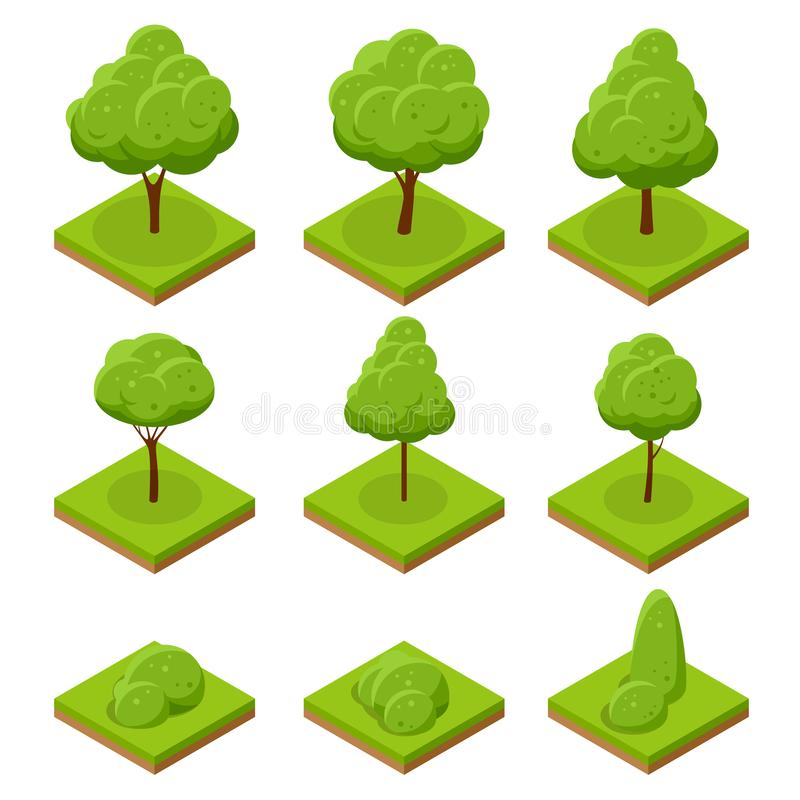 Isometric trees and bushes. Collection of trees isolated on white background. For infographics, game, and design vector illustration