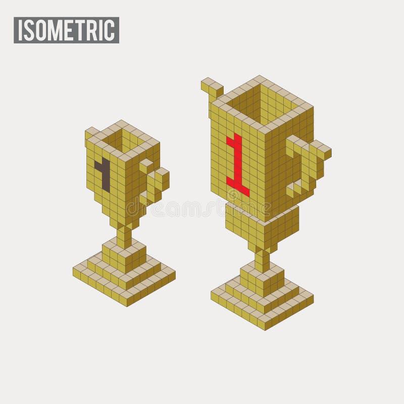 Isometric trofeum w dwa różnych wersjach royalty ilustracja