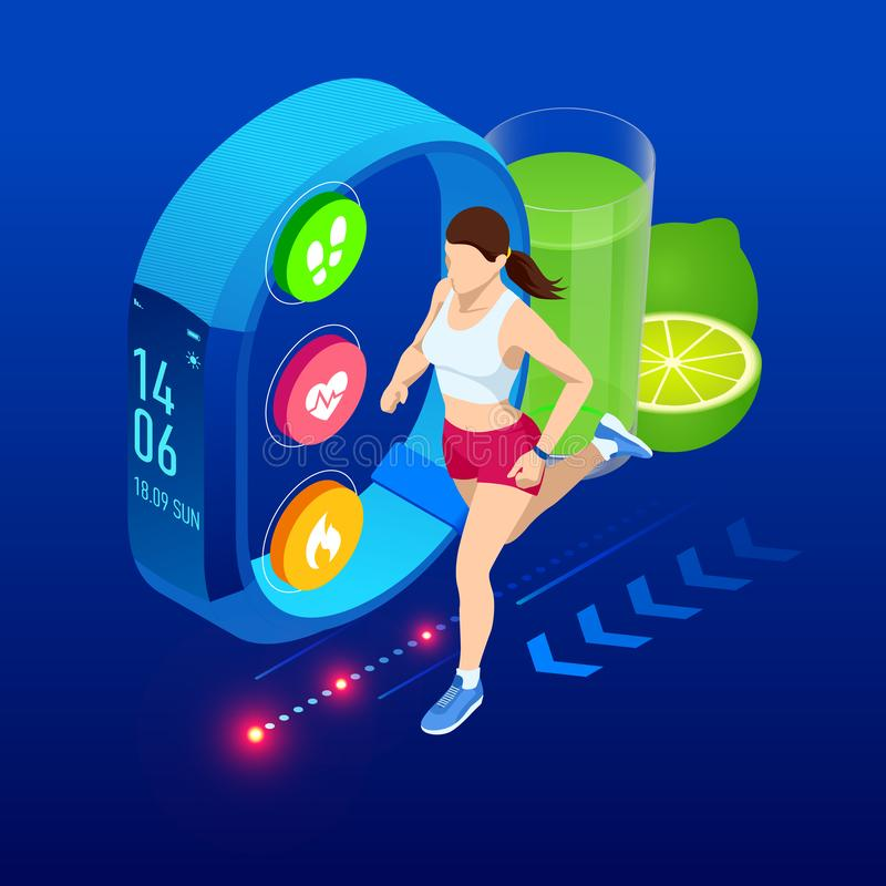 Isometric tropiciel z smartphone lub, atleta biega outdoors Jogging infographics i biegaj?cy ilustracja wektor