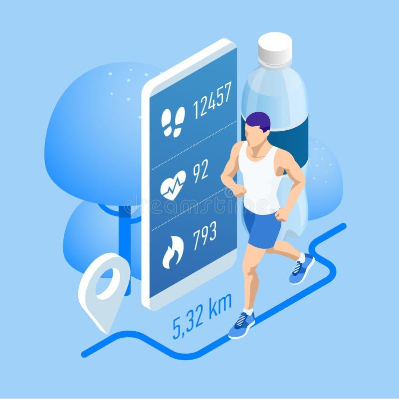 Isometric tropiciel z smartphone lub, atleta biega outdoors Jogging infographics i biegaj?cy royalty ilustracja