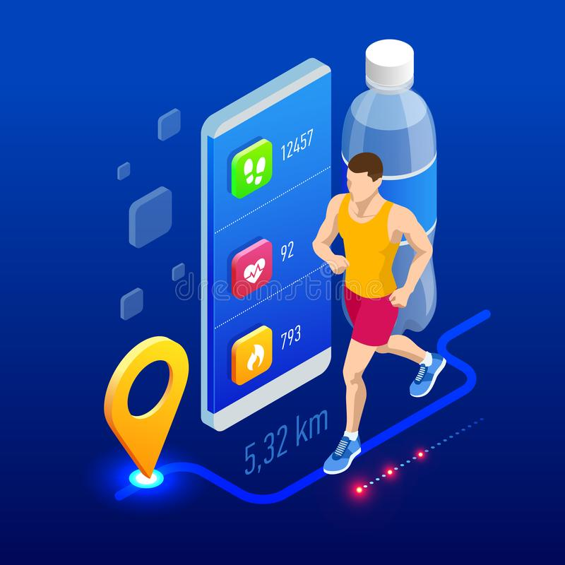 Isometric tropiciel z smartphone lub, atleta biega outdoors Jogging infographics i biegaj?cy ilustracji