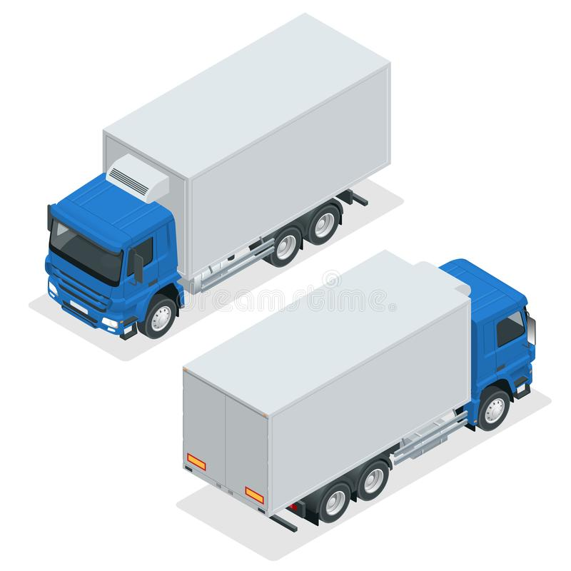Isometric Truck Delivery, lorry mock-up isolated template on white background. Refrigerator truck vector icon royalty free illustration
