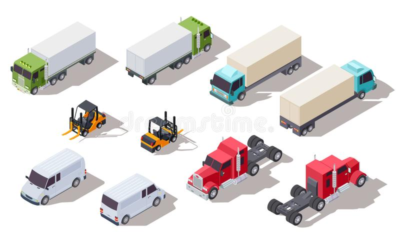 Isometric truck. Transportation trucks with container and van, lorry and loader. Vector 3d vehicles collection vector illustration