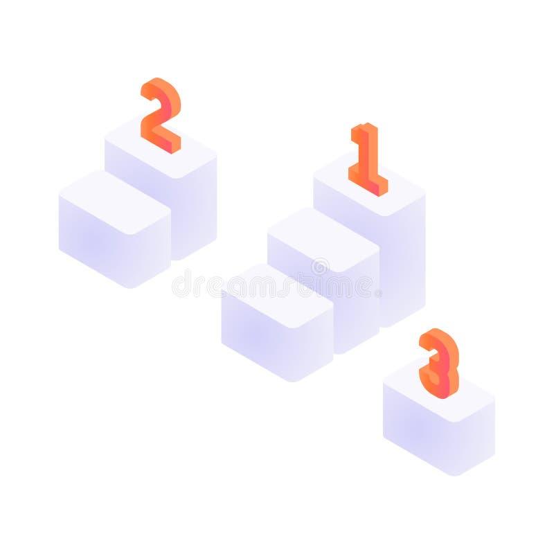 Isometric trzy kroka ilustracja wektor