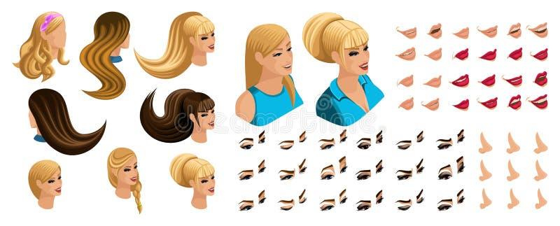Isometric Tworzy emocje dla twój charakteru, młoda dziewczyna Ustalone piękne fryzury i emocje, smucenie, radość, szczęście ilustracja wektor
