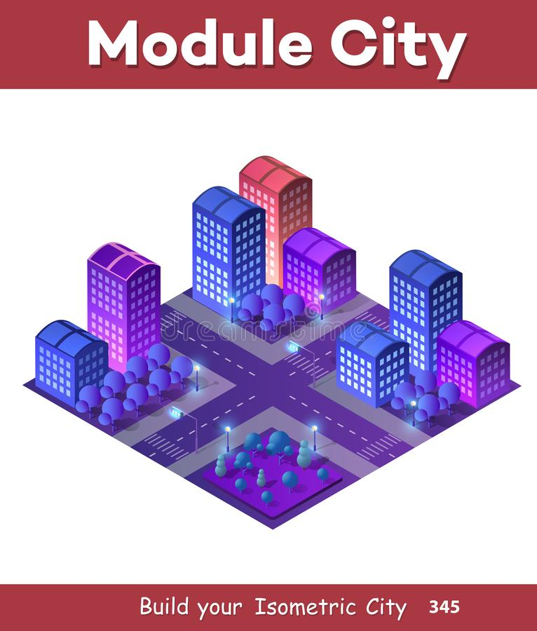 Isometric ultra city concept. Of violet style, an ultraviolet 3d modern design of urban street of a skyscraper royalty free illustration
