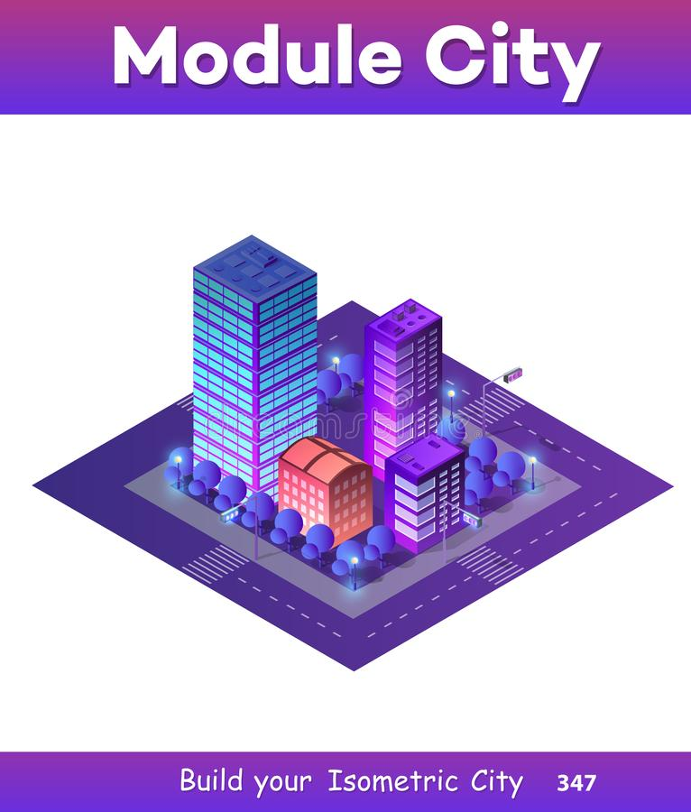 Isometric ultra city concept. Of violet style, an ultraviolet 3d modern design of urban street of a skyscraper stock illustration